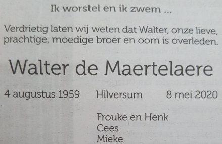 In Memoriam: Walter de Maertelaere